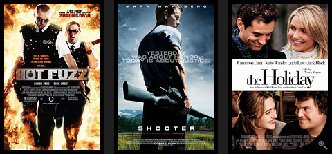 Plakaty: Hot Fuzz. Shooter. The Holiday.